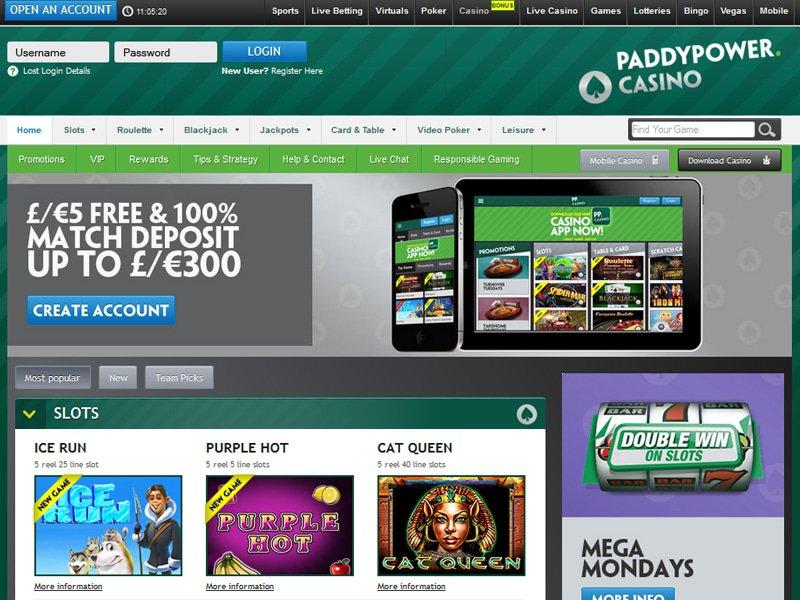 Paddy Power Casino website