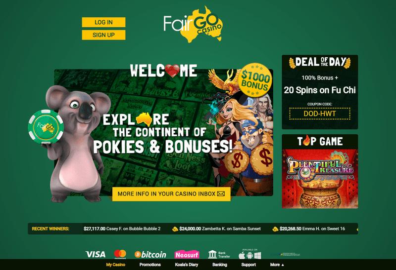 Fair Go Casino website