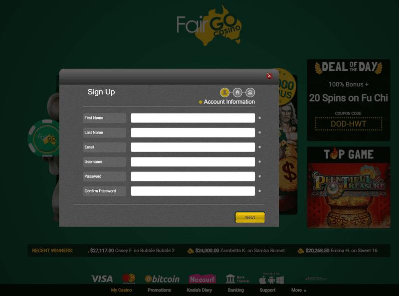 Fair Go Casino cashier