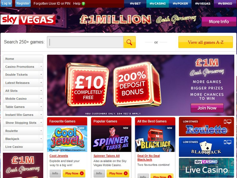 Sky Vegas Casino website