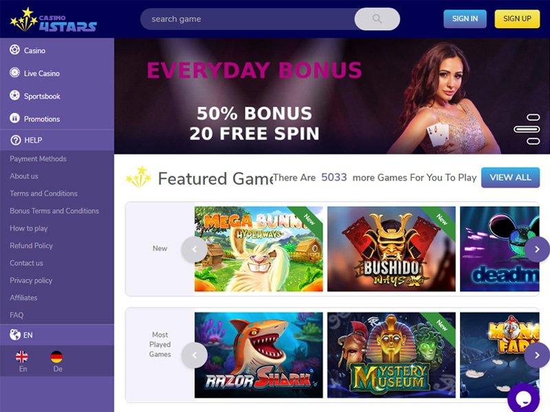 4Star Casino website