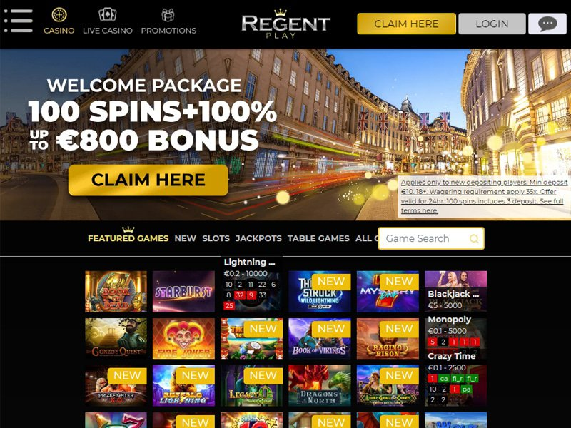 Regent Casino website
